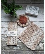 Handmade Dishcloths Cotton Washcloths Set of 3 Kitchen Pot Scrubbie Sand... - $19.99