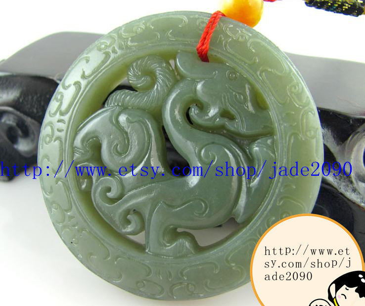 Free Shipping - Genuine jadeite Hand-carved Natural Green jade jadeite Carved Pi