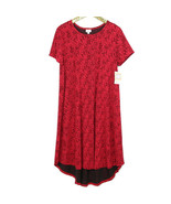 LuLaRoe Carly Womens Dress Red Size XL Floral Stretch High Low Swing USA - $123.70