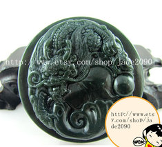 Free shipping - Hand carved  luck Monster Natural green jade jadeite cha... - $25.99