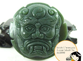 Free shipping - Hand carved  luck Monster Natural green jade jadeite charm jade  - $25.99