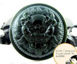 Free shipping - Hand carved  Demon Hunter Natural dark green jade jadeite charm  - $25.99