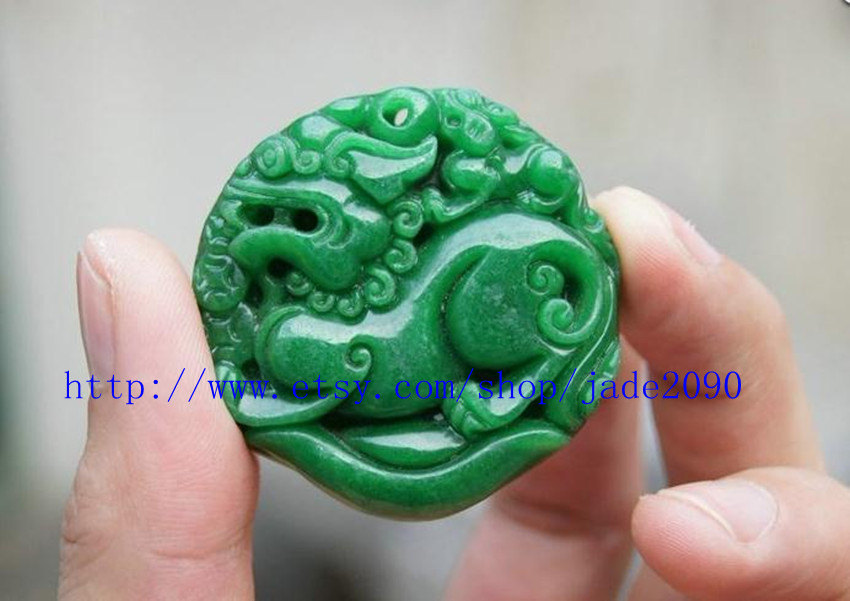 Primary image for Free Shipping -  good luck Green jade jadeite carved Pi Yao jadeite jade Amulet