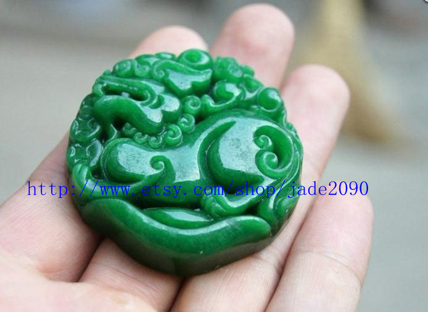Free Shipping -  good luck Green jade jadeite carved Pi Yao jadeite jade Amulet  image 2