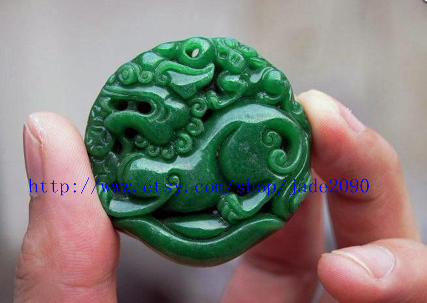 Free Shipping -  good luck Green jade jadeite carved Pi Yao jadeite jade Amulet  image 3
