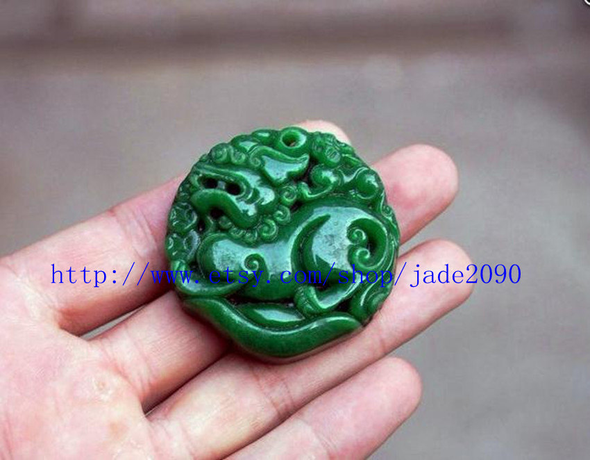 Free Shipping -  good luck Green jade jadeite carved Pi Yao jadeite jade Amulet  image 4