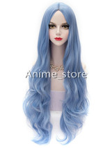 Sky Blue Lolita Middle Parted Curly Long Fiber Wig Halloween cos526 - $26.99