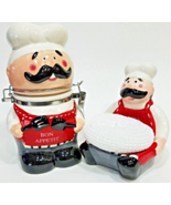 French Italian BW Bon Appetit Chef Jar and Scrubby Holder Decor Collection - $21.00