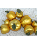 Lot of 27 Shatterproof Gold Fruit Apple Chriistmas Tree Ornaments Assorted Sizes - $19.99