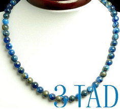 "Free Shipping  17 1/4"" Natural Lapis Lazuli Gemstone 8mm Beads Necklace - $32.99"