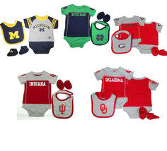 NCAA Infant Baby Boy's Lil Jersey Creeper Bib Bootie 3-Piece Set NEW