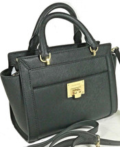 MICHAEL KORS Tina Messenger Black Leather Satchel Bag Vivianne NWT - $99.00
