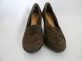 Clarks Artisan Womens Brown Wedge Heel Leather Upper Slip On Shoes Size ... - $24.99