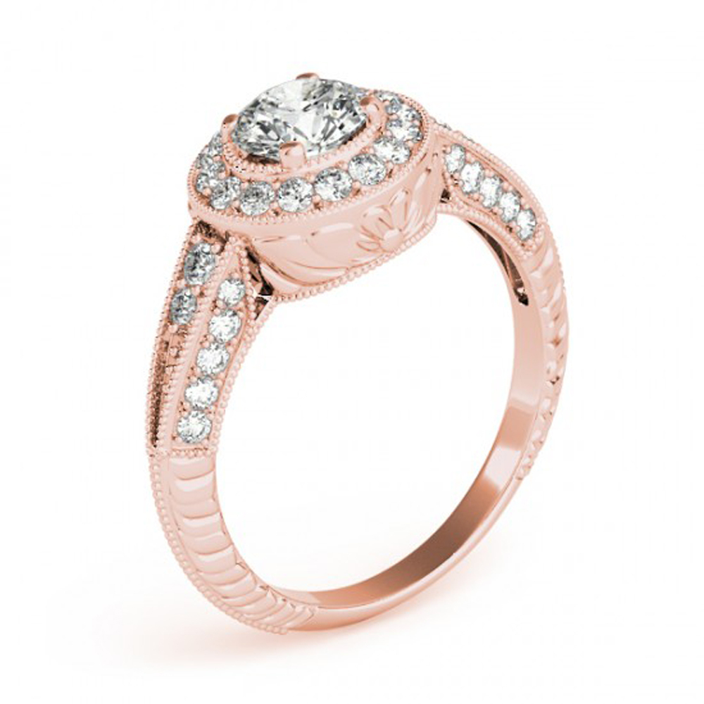 Rose Gold Plated 925 Sterling Silver Round Cut White CZ Women's Engagement Ring