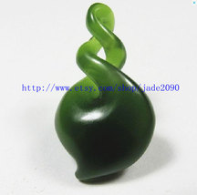 Free Shipping - green jade Amulet pendant ,  Natural green jade carved Blessing  - $19.99