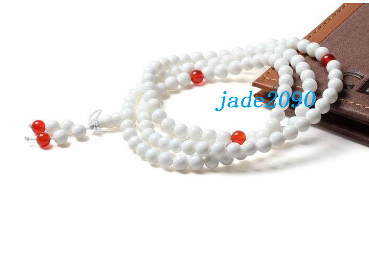 Primary image for FREE SHIPPING - AAA Grade Natural white jade and Red agate 108 Meditation yoga p