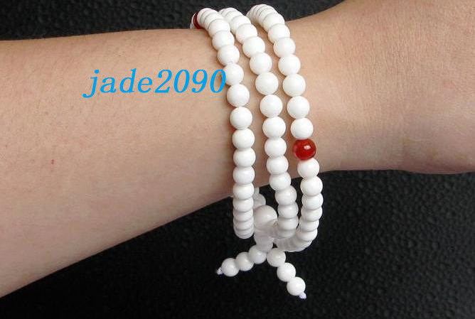 FREE SHIPPING - AAA Grade Natural white jade and Red agate 108 Meditation yoga p
