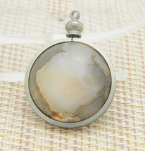 Gray Yellow Clear Agate Circle Silver Tone Necklace Pendant Vintage - $24.74