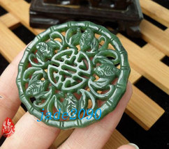 Free Shipping - good luck Natural green jade carved Blessing  Amulet charm jade  - $25.99