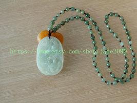 Free Shipping - beaded green jadeite jade  Dragon and Phoenix  charm beaded Pend - $25.99