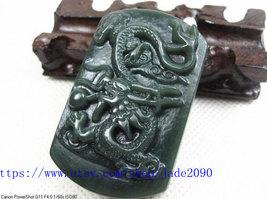 Free Shipping - chinese green jadeite jade dragon , Elegant Natural green Dragon - $24.99