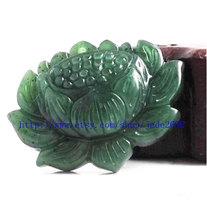 Free shipping - Hand carved  Natural dark green  jade jadeite buddha Lotus / bud - $19.99