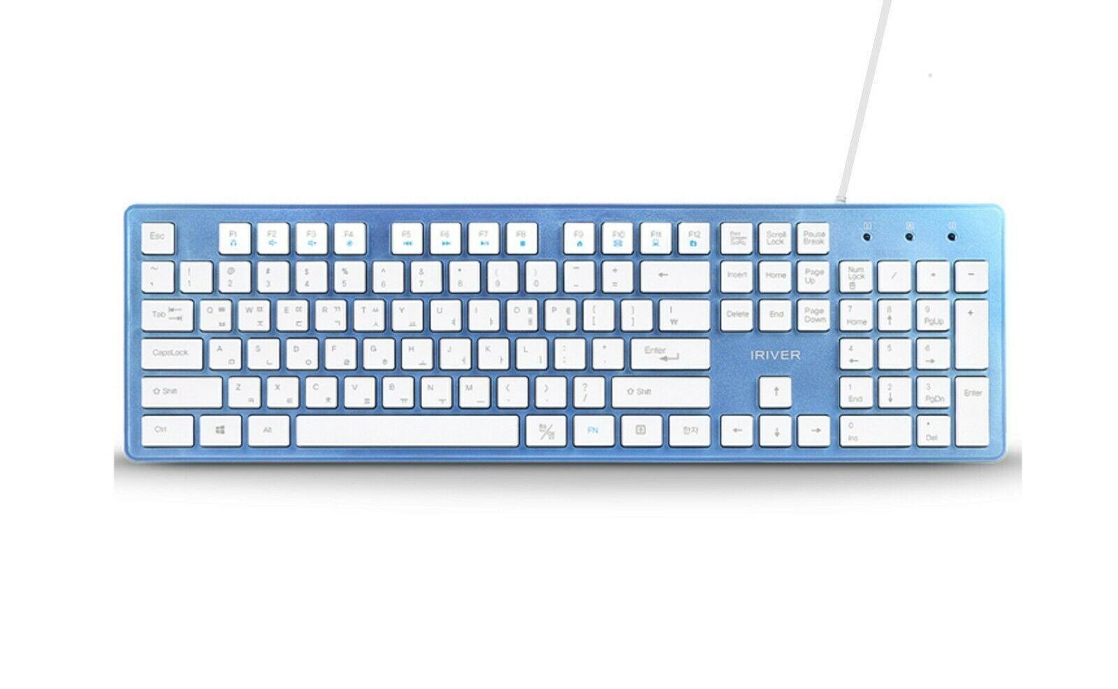 iRiver Korean English Keyboard USB Wired Membrane Cover Skin Protector (Blue)
