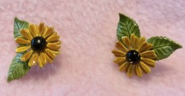 Vintage Gold & Black Flower  Enamel Metal Flower Clip On Earrings 1960's! - $9.95