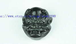 Free Shipping - handmade gift Natural Green jadeite jade carved  demon Belt buck - $32.00