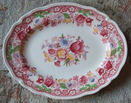 PORCELAIN SERVING PLATTER DORCHESTER JOHNSON BROS ENGLAND RED ROSES COUN... - $46.99