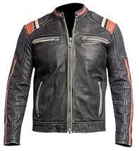 Cafe Racer Retro Biker Distressed Black Vintage Motorcycle Leather Jacket - $95.00