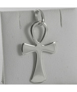 SOLID 18K WHITE GOLD CROSS, CROSS OF LIFE, ANKH, SHINY, 1.26 INCH MADE I... - £220.24 GBP