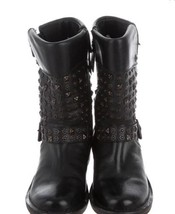 Ugg Moto Stud Leather Boots Black Connor Hammered Studs Womens SZ. 6 - $58.04