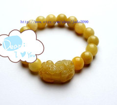Free shupping - good luck Natural yellow  jade carved PI Yao charm Bracelet - ja - $25.99