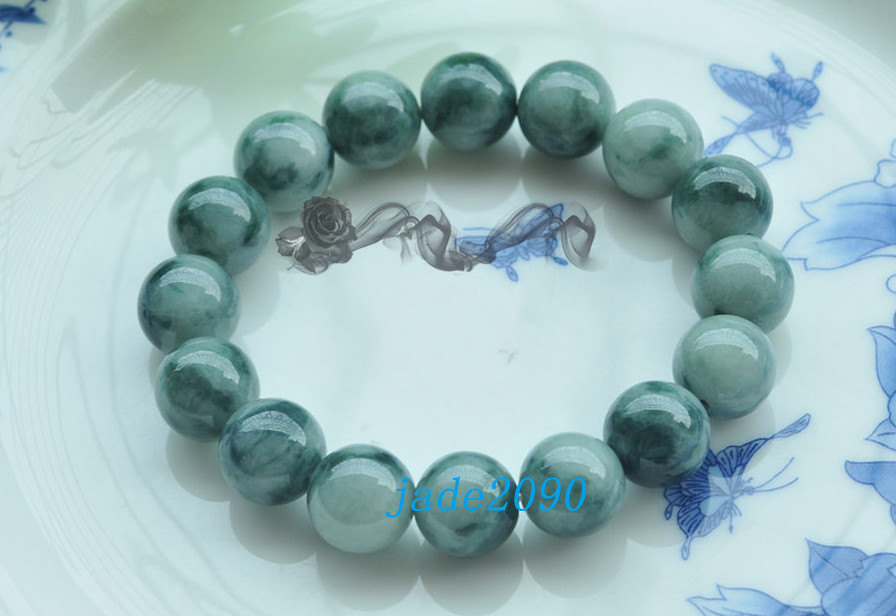 Free Shipping -  dark green jadeite bracelet ,  Grade AAA Natural Green jadeite