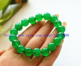 Free Shipping - green jadeite jade bracelet Green jadeite Jade Round bead prayer - $23.00