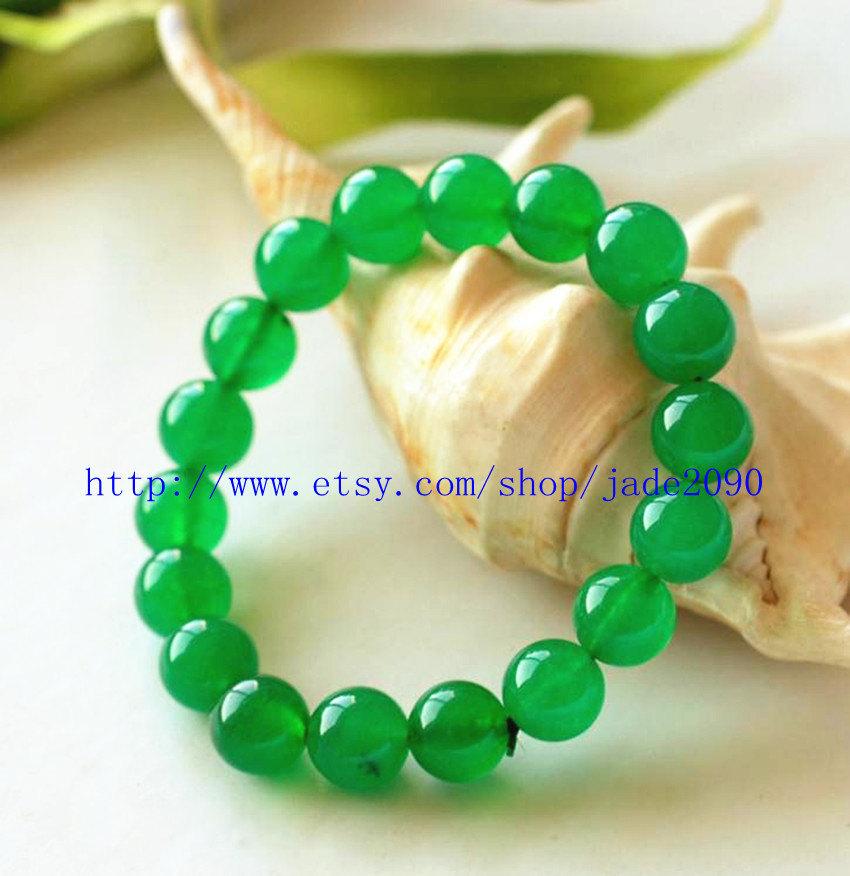 Free Shipping - green jadeite jade bracelet Green jadeite Jade Round bead prayer