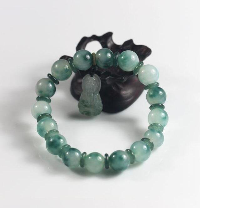 Free Shipping -  handmade dark green jadeite bracelet ,  Grade AAA Natural Green - $23.00