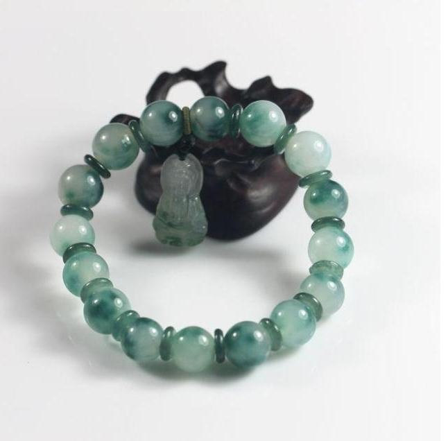 Free Shipping -  handmade dark green jadeite bracelet ,  Grade AAA Natural Green
