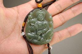 Free shipping - green jadeite jade,  Natural green jade carved Buddhist Bodhisat - $25.99