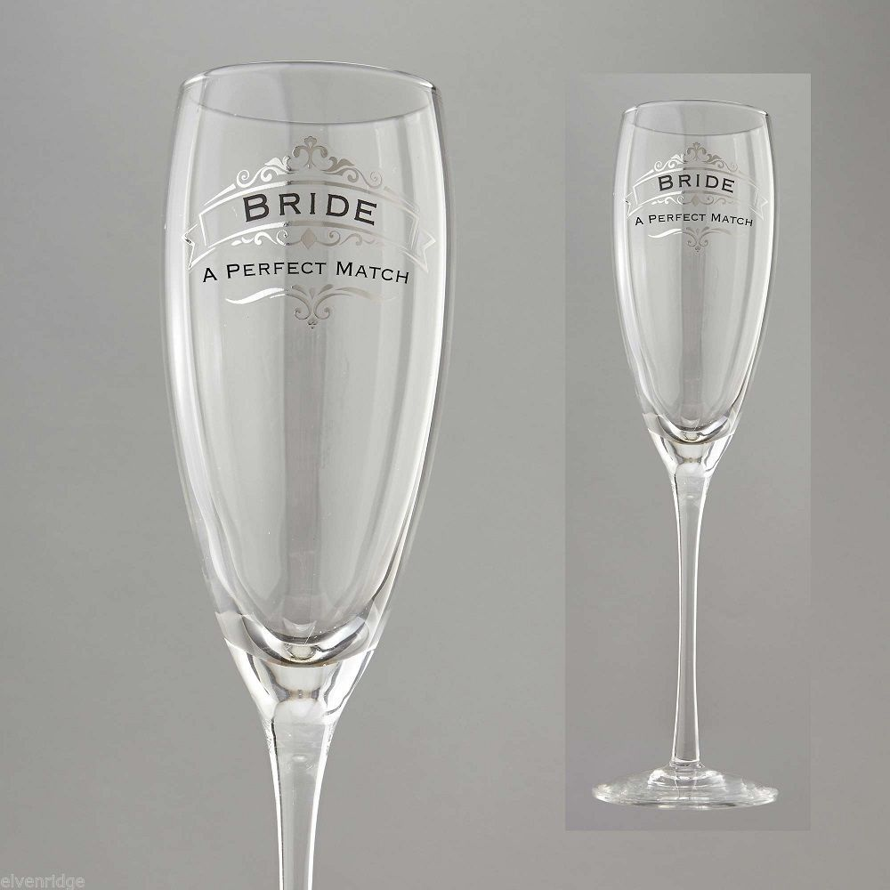 Bride A Perfect Match Toasting Glass Insignia Brand in Gift Box