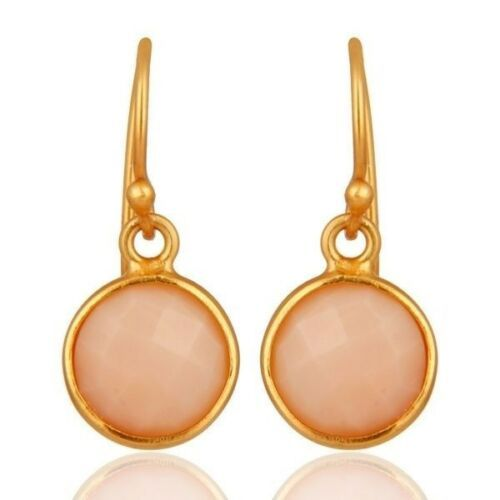 18K Gold Plated 925 Sterling Silver Pink Opal Gemstone Jewelry Dangle Earrings