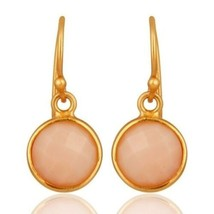 18K Gold Plated 925 Sterling Silver Pink Opal Gemstone Jewelry Dangle Ea... - $19.80