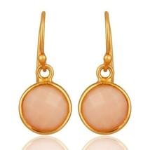 18K Gold Plated 925 Sterling Silver Pink Opal Gemstone Jewelry Dangle Earrings - $19.80