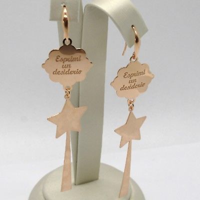 "925 STERLING ROSE SILVER ""LE FAVOLE"" EARRINGS, STAR, MAGIC WAND, MAKE A WISH"