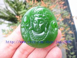 Free shipping - handmade natural green jadeite jade Buddhist Bodhisattvas / Budd - $25.99