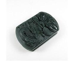 Free Shipping - fahion Natural Green jade carved Chinese Dragon charm jade Penda - $25.99