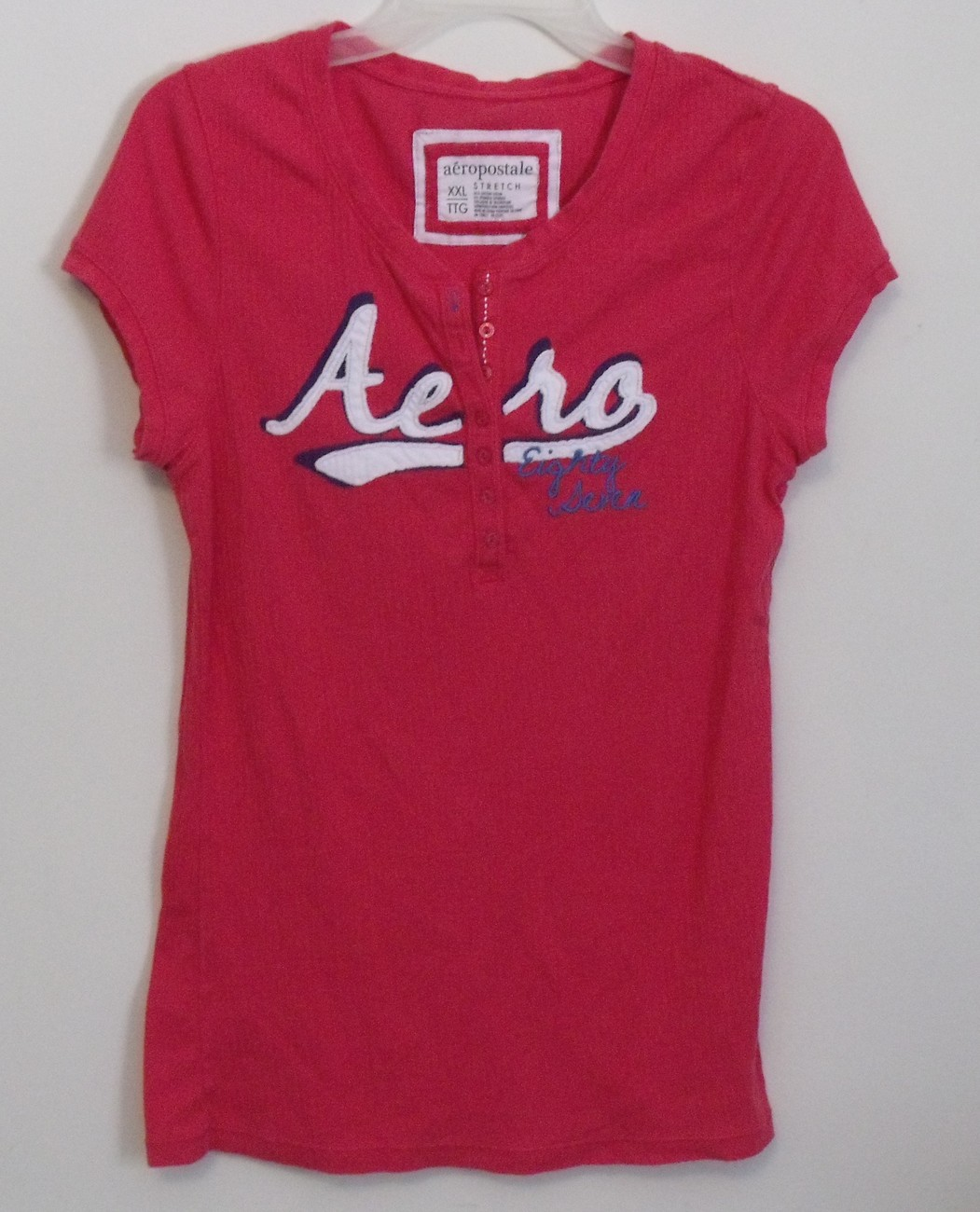 Womens Aeropostale Coral Stretch Cap Sleeve Shirt Size XXL