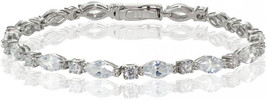 Hoops and Loops Marquise and Oval CZ Tennis Bracelet Sterling Silver Yel... - $98.49+