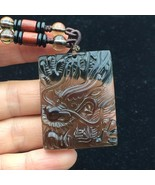 ICY Obsidian Natural Quartz crystal Dragon Head Statue Pendant Healing 1... - $19.75